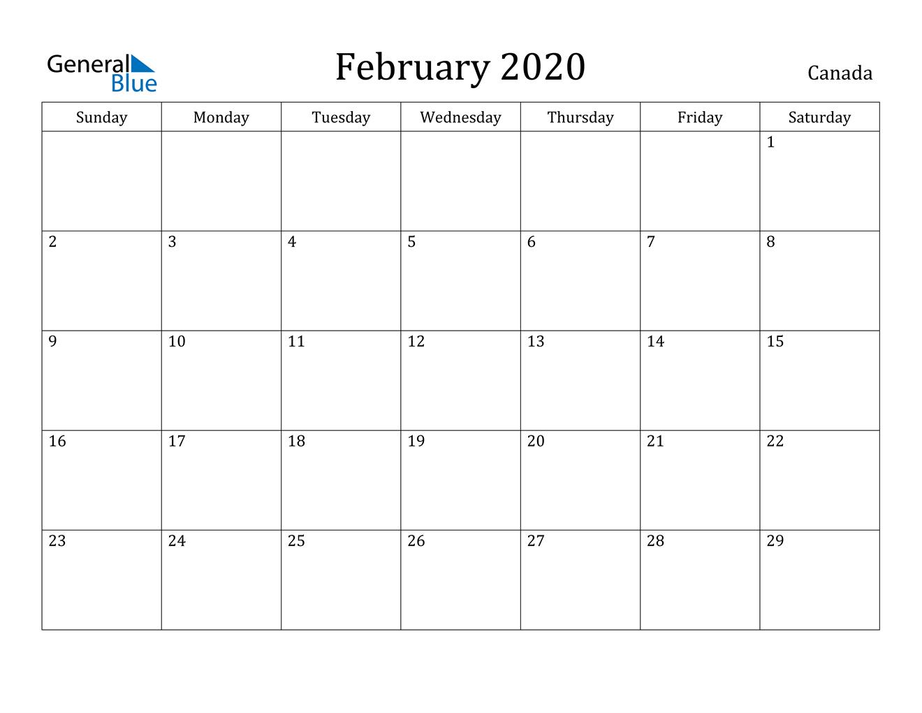 February 2020 Calendar - Canada