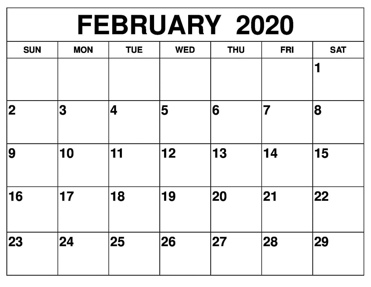February 2020 Calendar Printable - Auntyno 1 - Medium