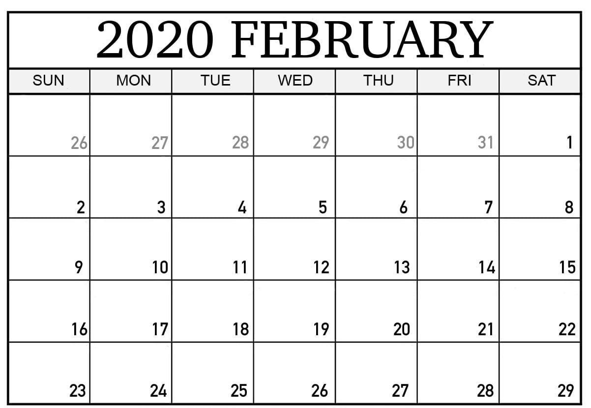 February 2020 Calendar | Printable Calendar Template, Free