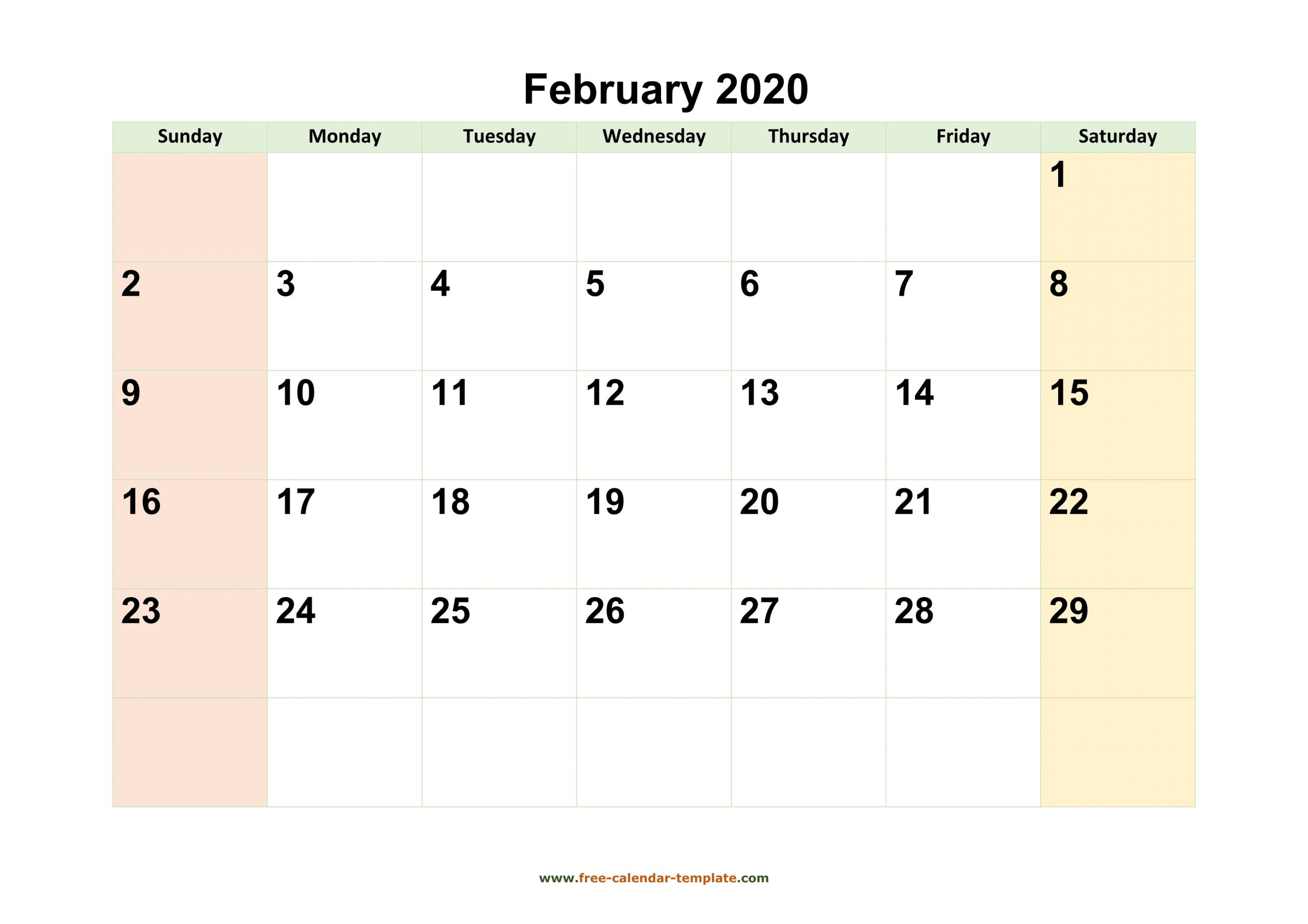 February 2020 Calendar Printable With Coloring On Weekend