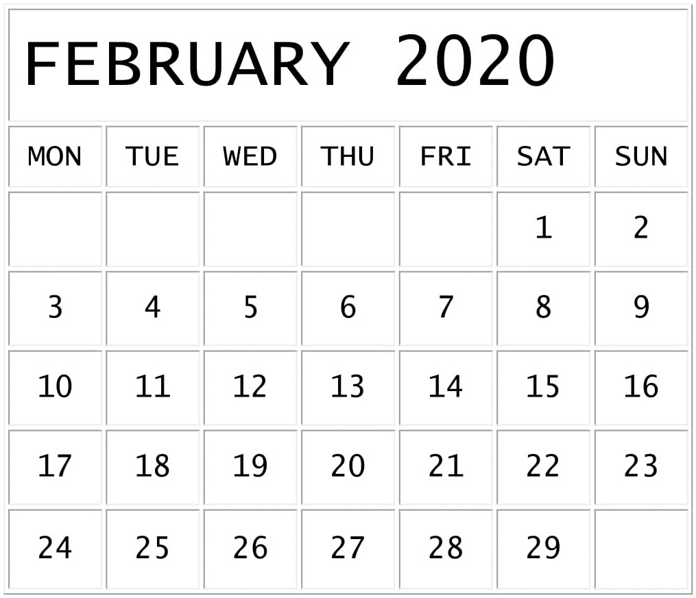 February 2020 Calendar Template For Google Sheets – Free
