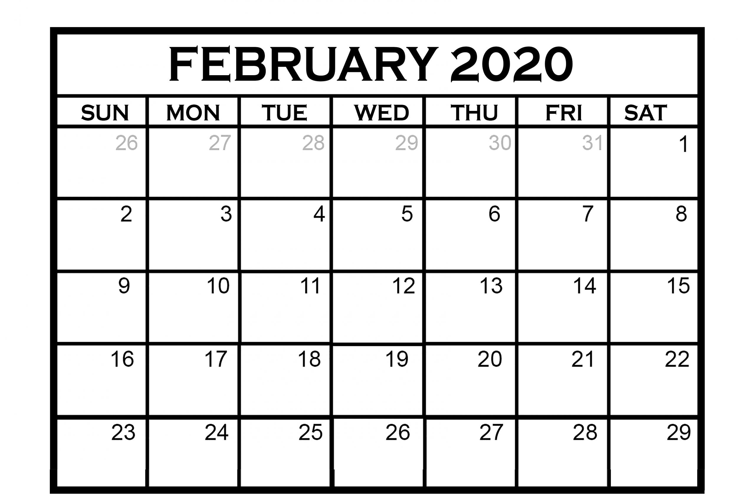 February 2020 Calendar Us Holidays, Events List | Free