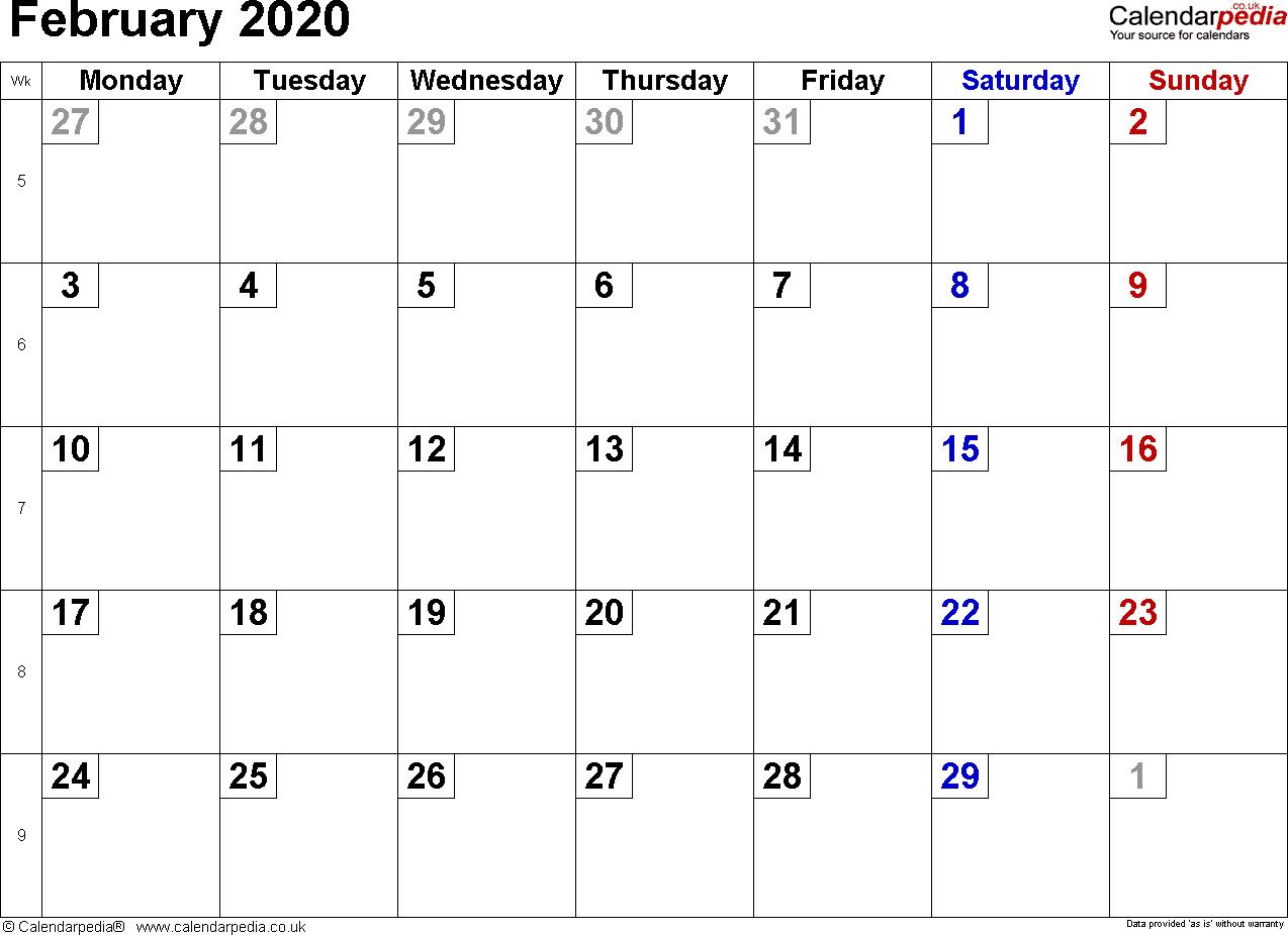February 2020 Calendars Uk - Togo.wpart.co