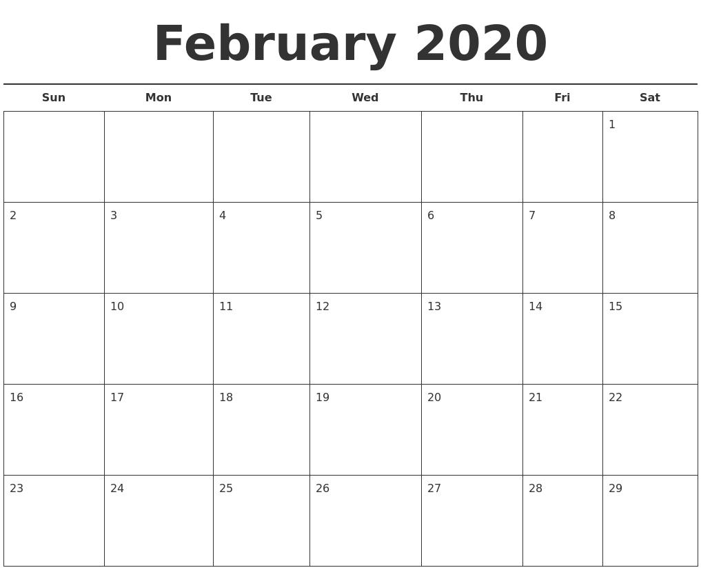 February 2020 Free Calendar Template