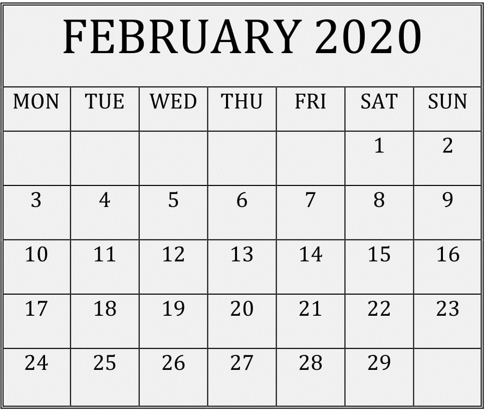 February 2020 Printable Calendar Free Download – Free Latest