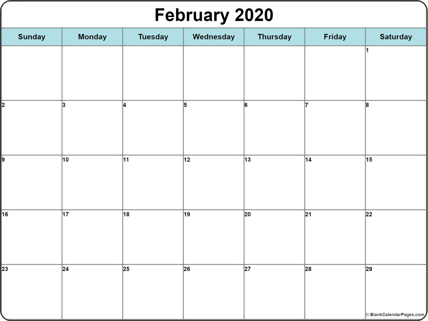 February 2020 Printable Calendar Template #2020Calendars