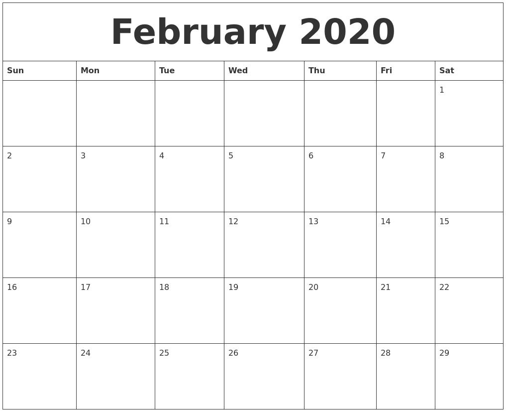February 2020 Printable Calendar Templates