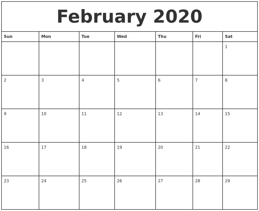 February 2020 Printable Monthly Calendar