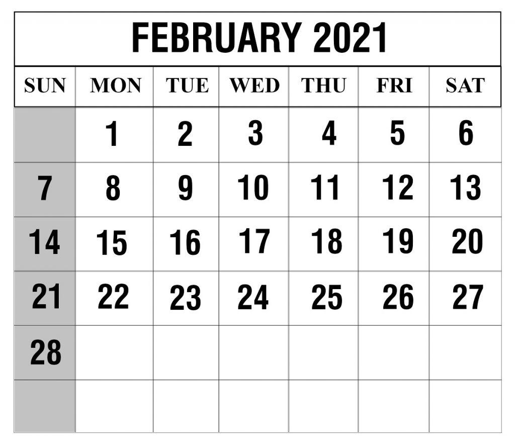 February 2021 Blank Calendar | Printable February Calendar