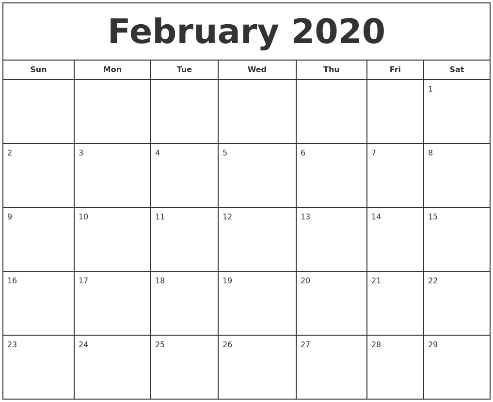 February Calendar 2020 Free Printable Template Pdf Word
