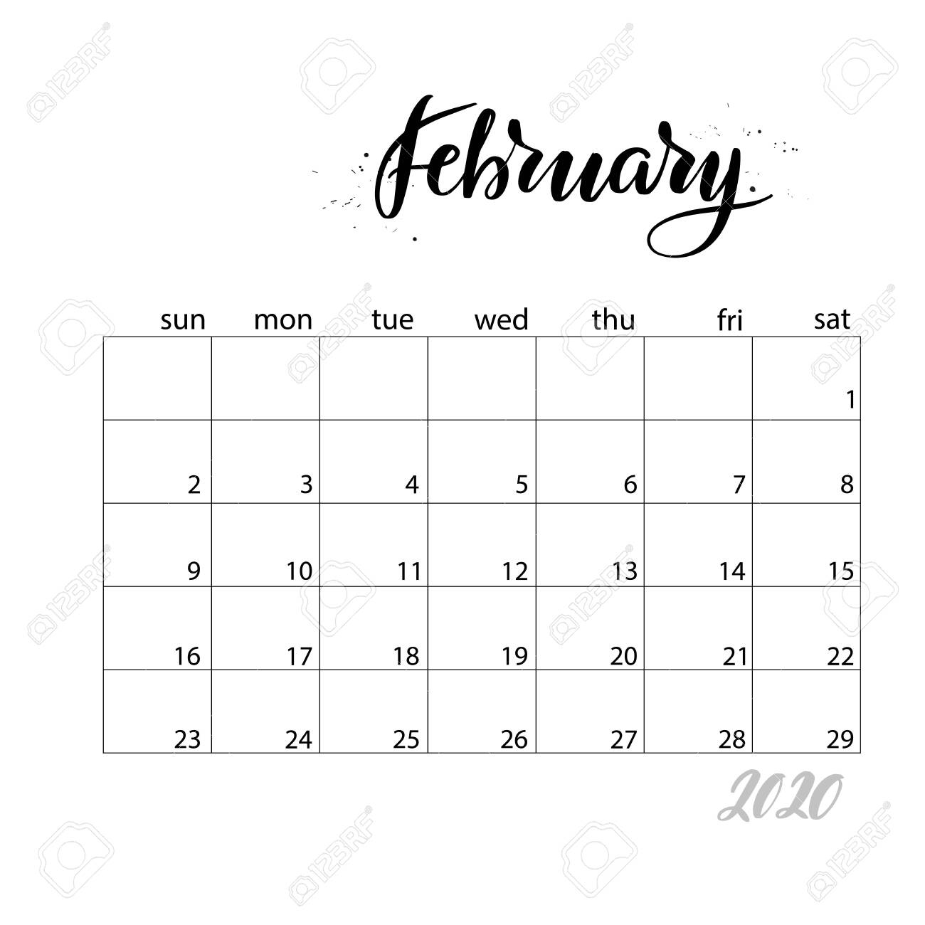 February. Monthly Calendar For 2020 Year. Handwritten Modern..