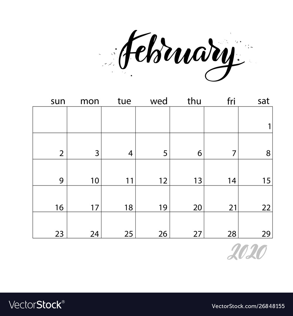 February Monthly Calendar For 2020 Year