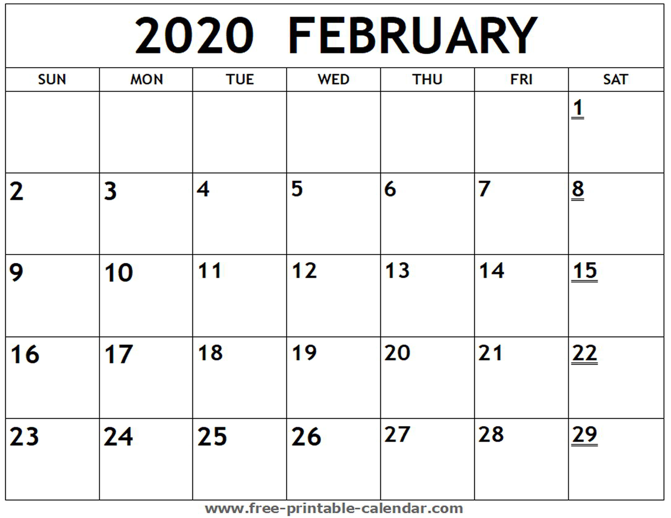 February Printable Calendar - Togo.wpart.co
