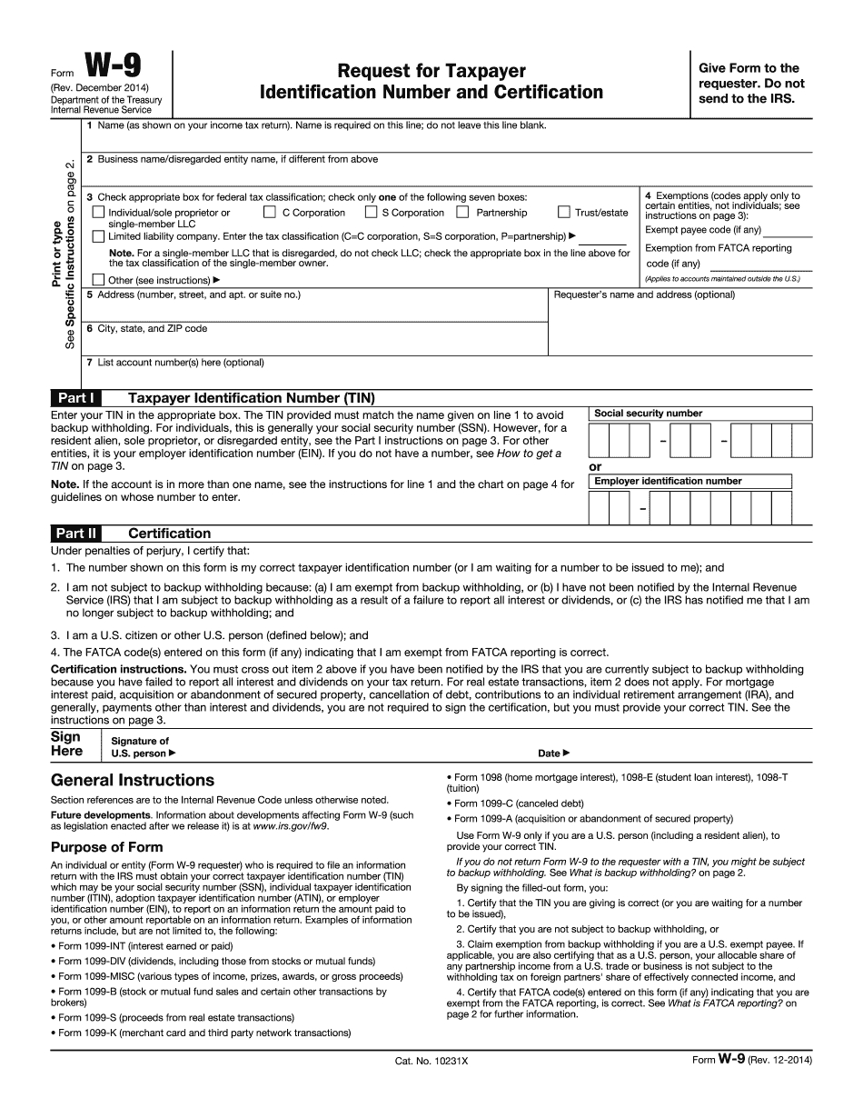 Fillable Form Irs W-9 2014 - Complete In Word And Pdf