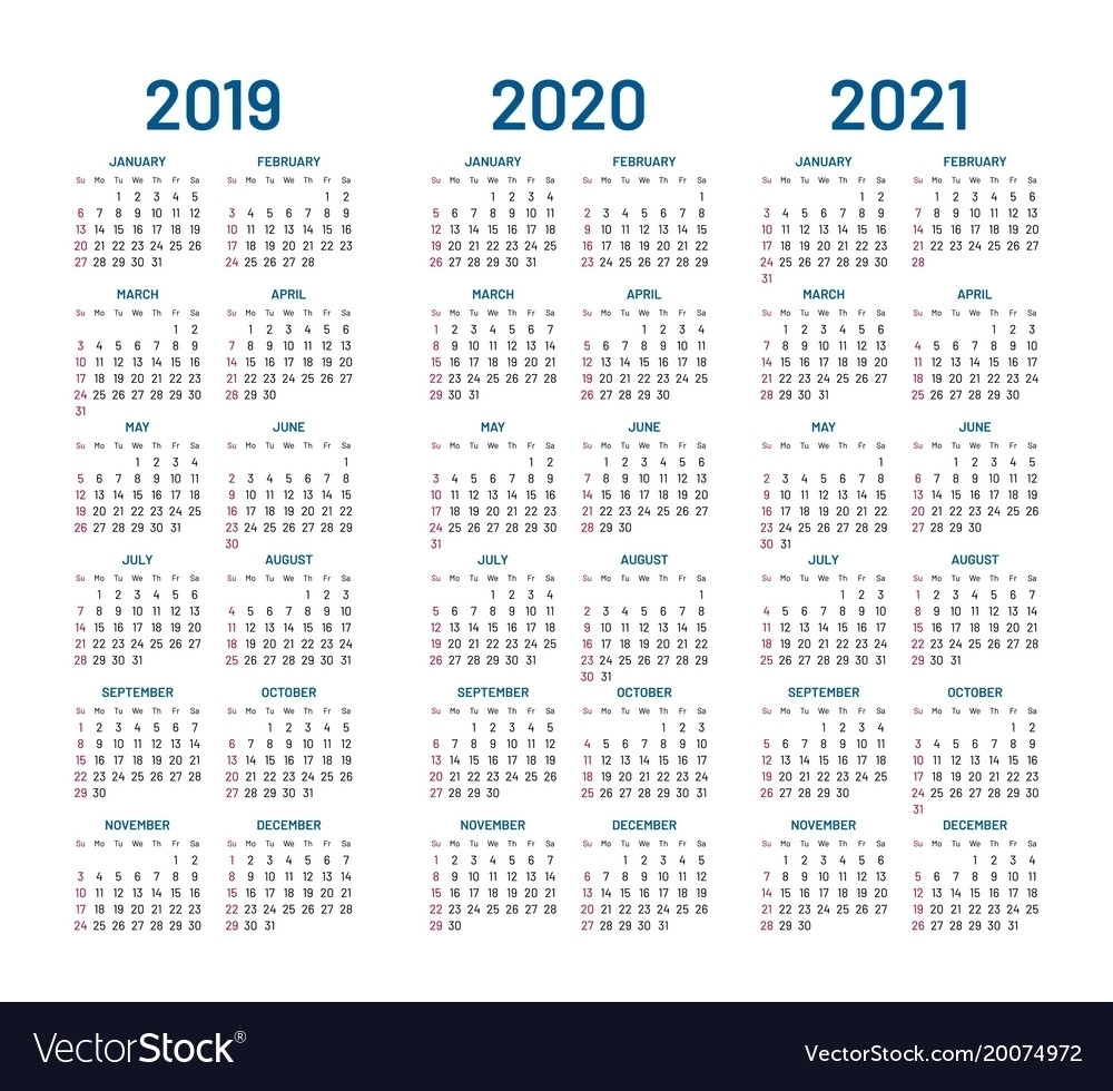 Fine 3 Year Calendar 2019 To 2021 : Mini Calendar Template