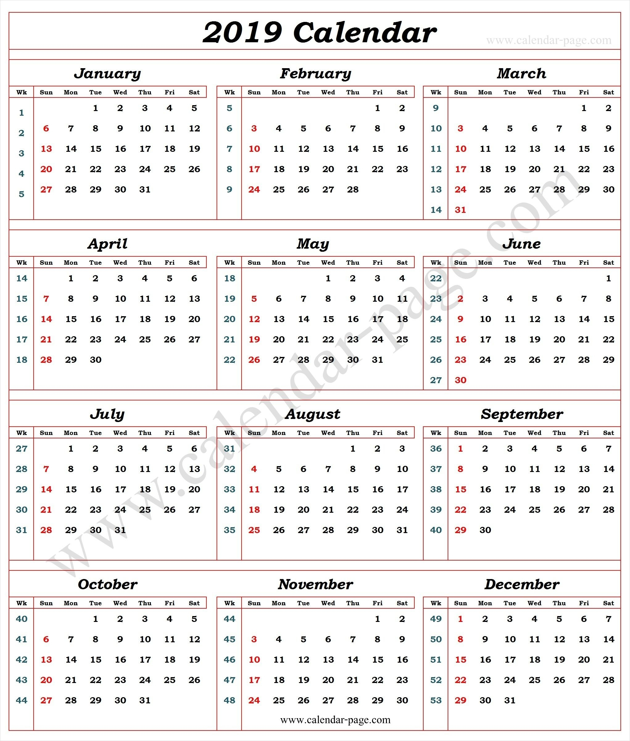 Fine Calendar By Week Number 2019 : Mini Calendar Template