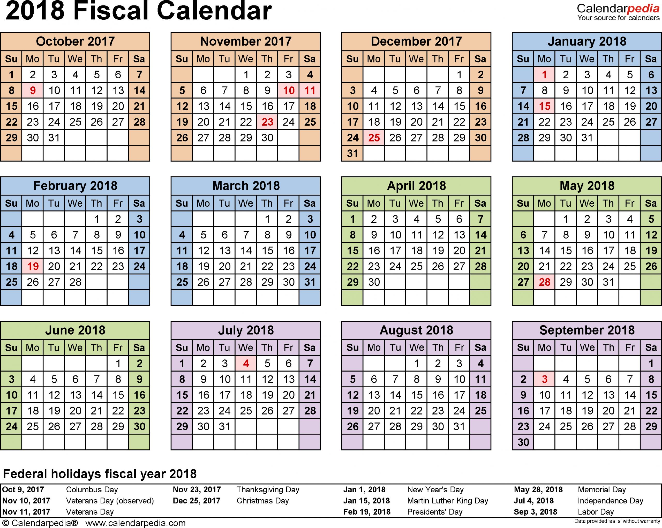 Fiscal Calendars 2018 - Free Printable Excel Templates