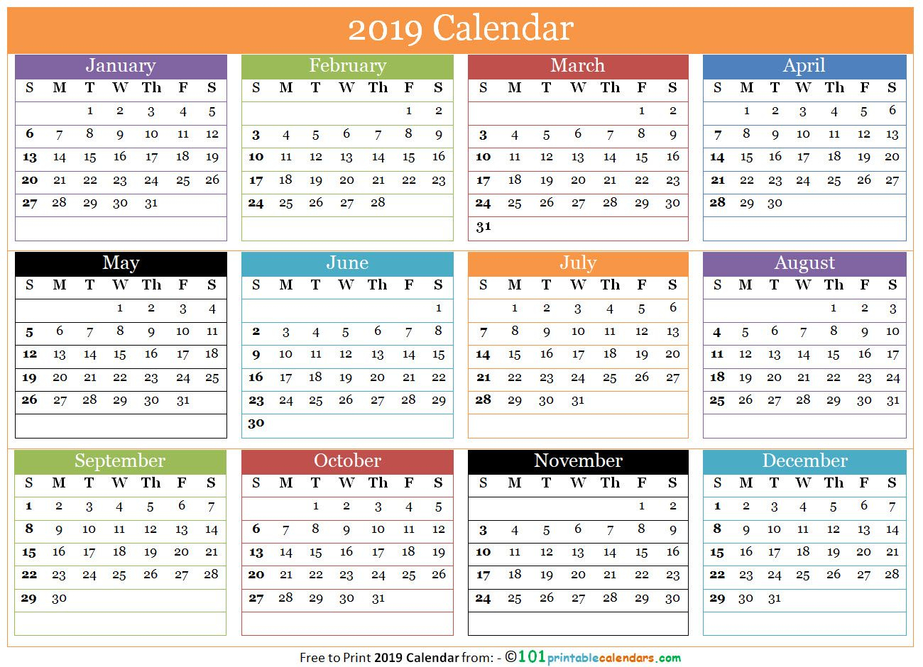Free 12 Months Calendar 2019 In One Page | 12 Month Calendar