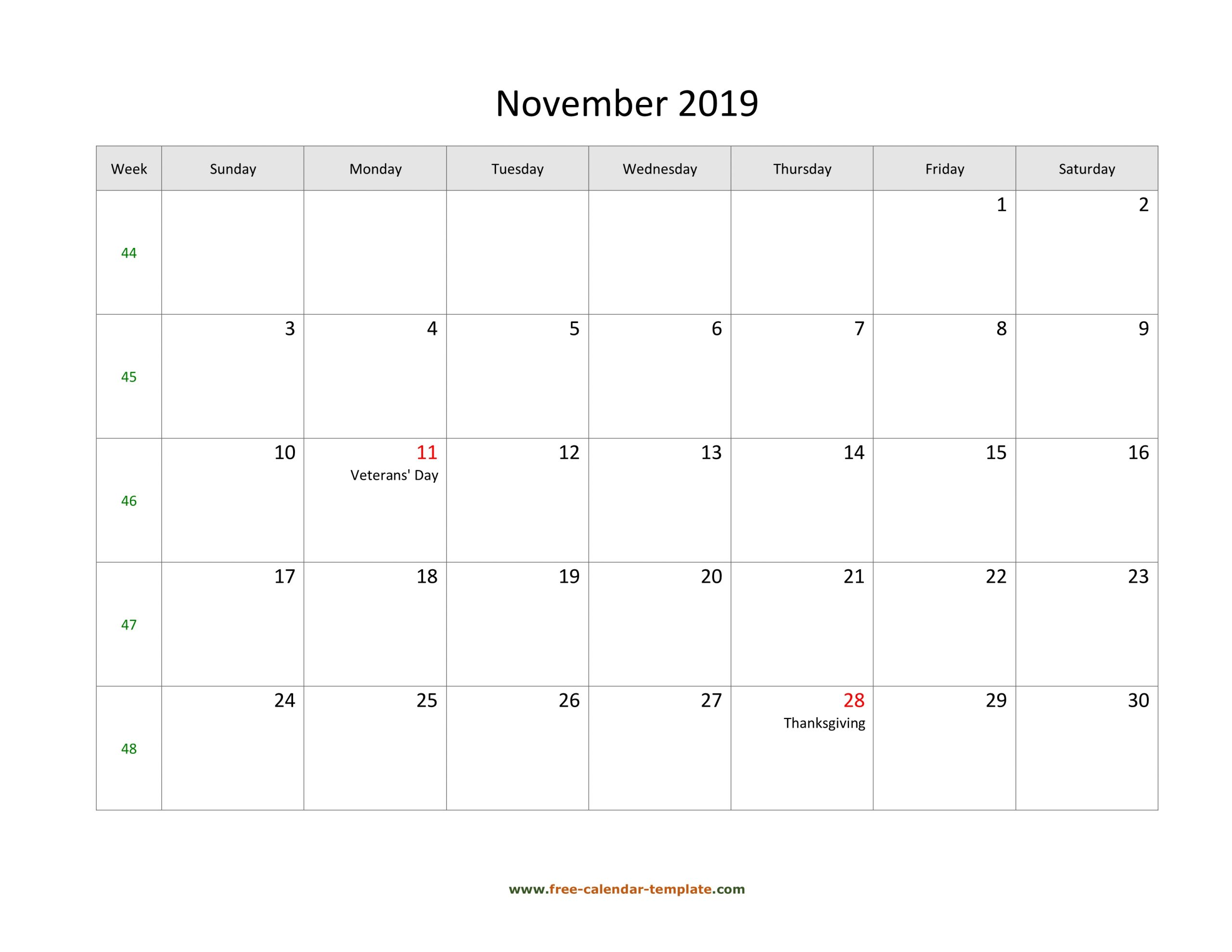 Free 2019 Calendar Blank November Template (Horizontal