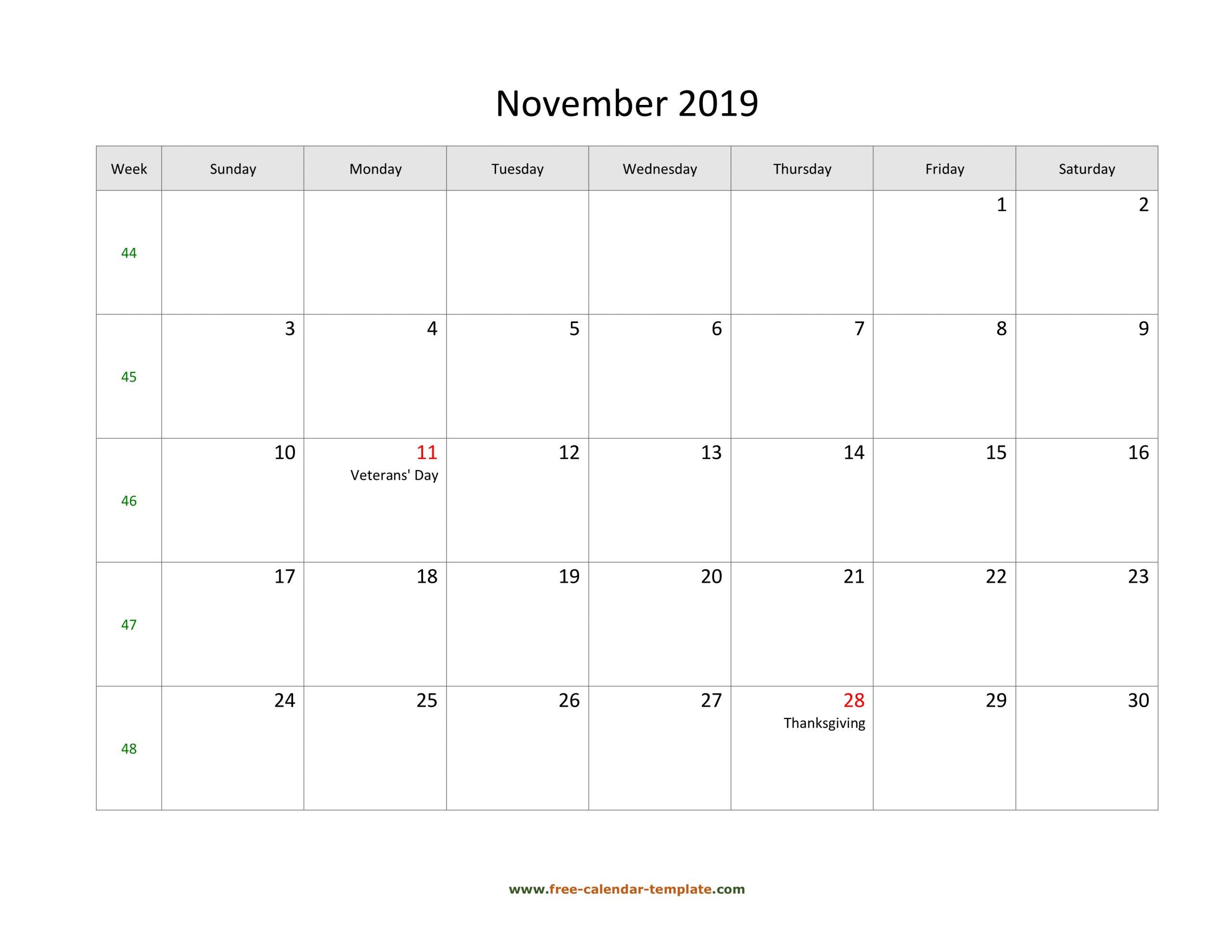 Free 2019 Calendar Blank November Template (Horizontal