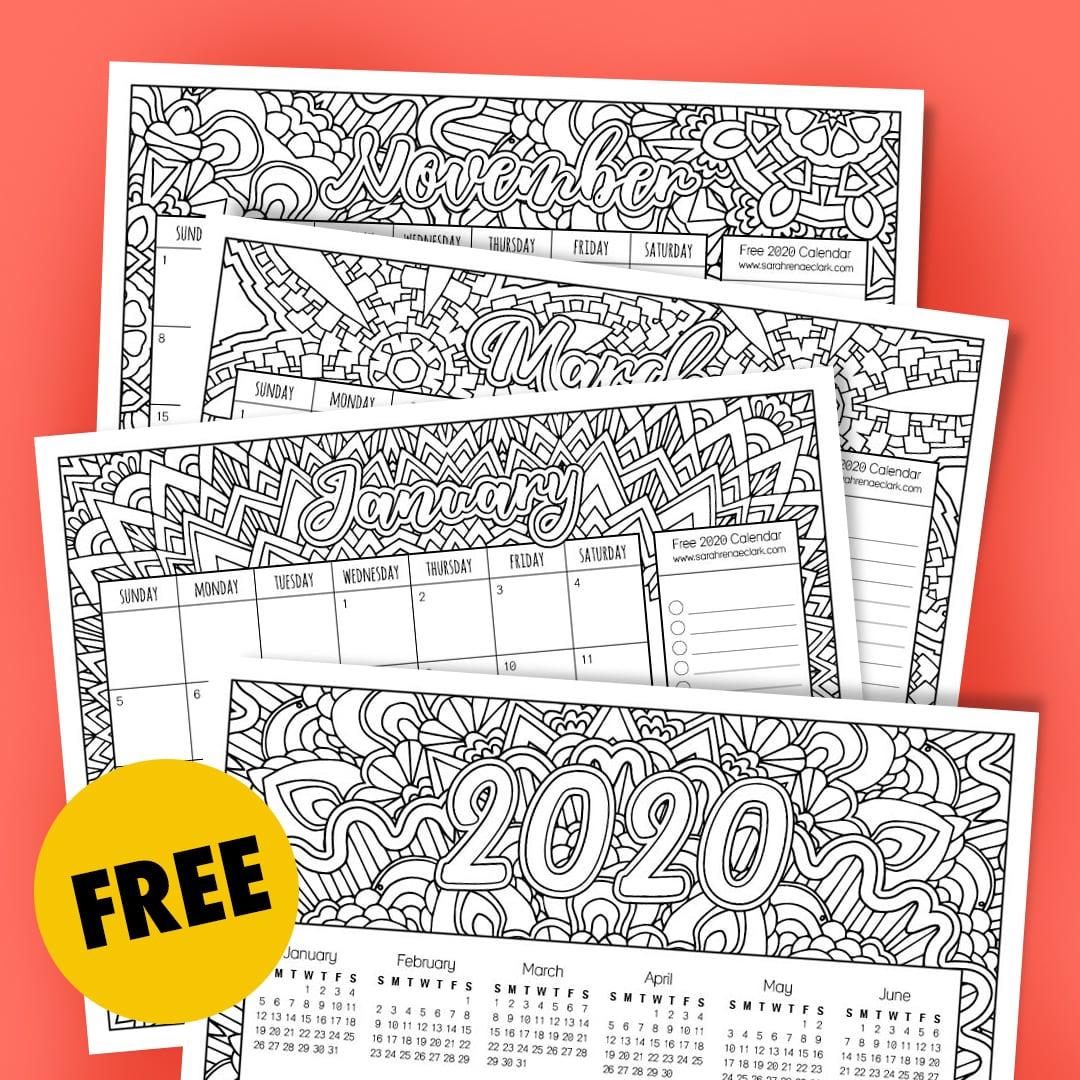 Free 2020 Coloring Calendar