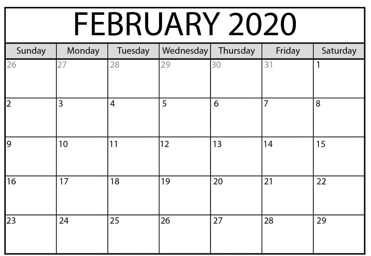Free 2020 Editable February Calendar Blank Template