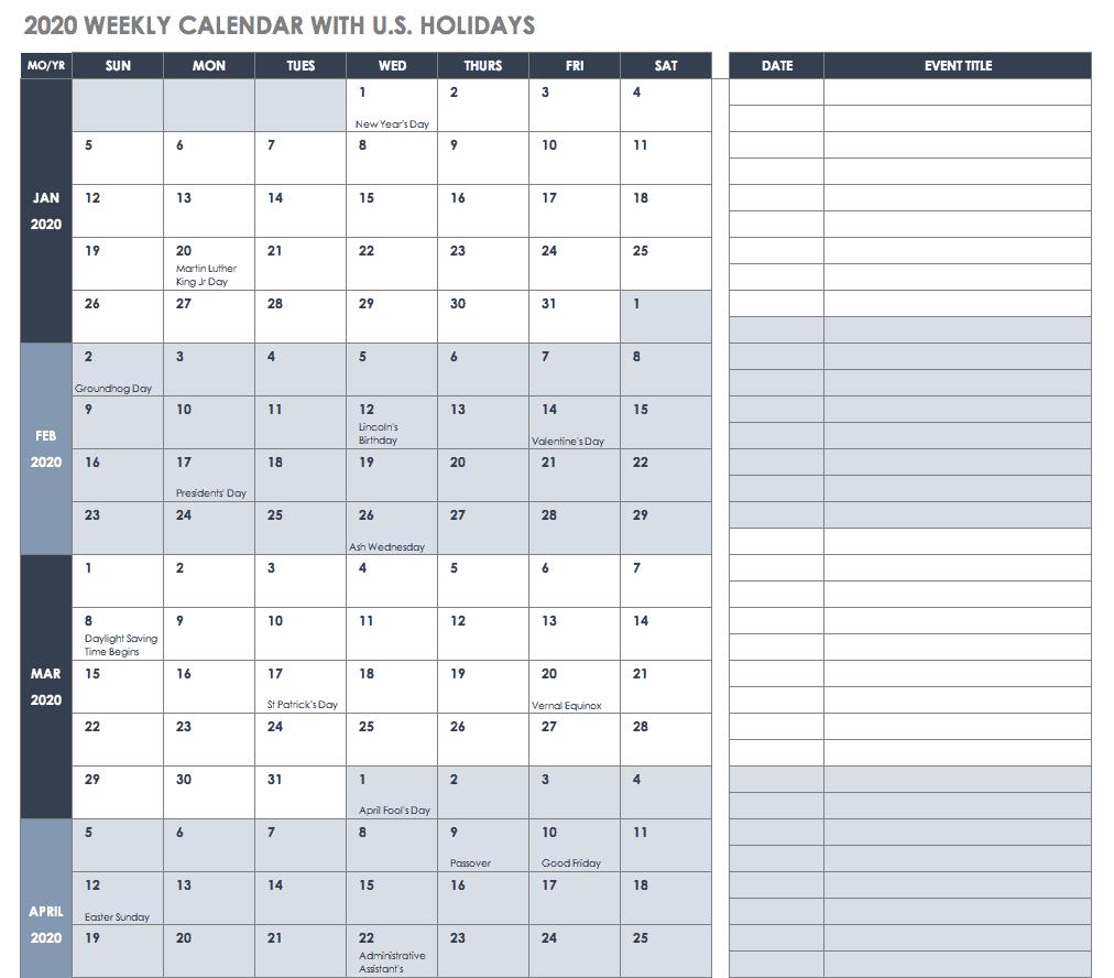 Free 2020 Employee Attendance Calendar - Togo.wpart.co