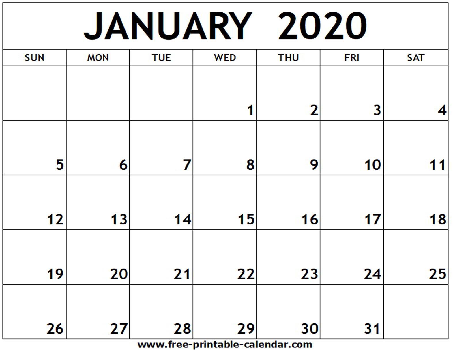 Free 2020 January Calendar - Togo.wpart.co