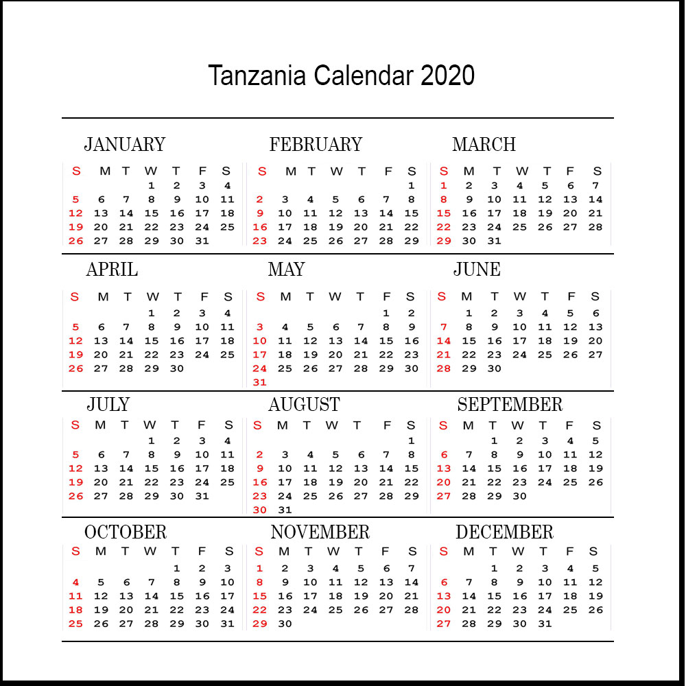 Free 2020 Tanzania Printable Calendar With Public Holidays