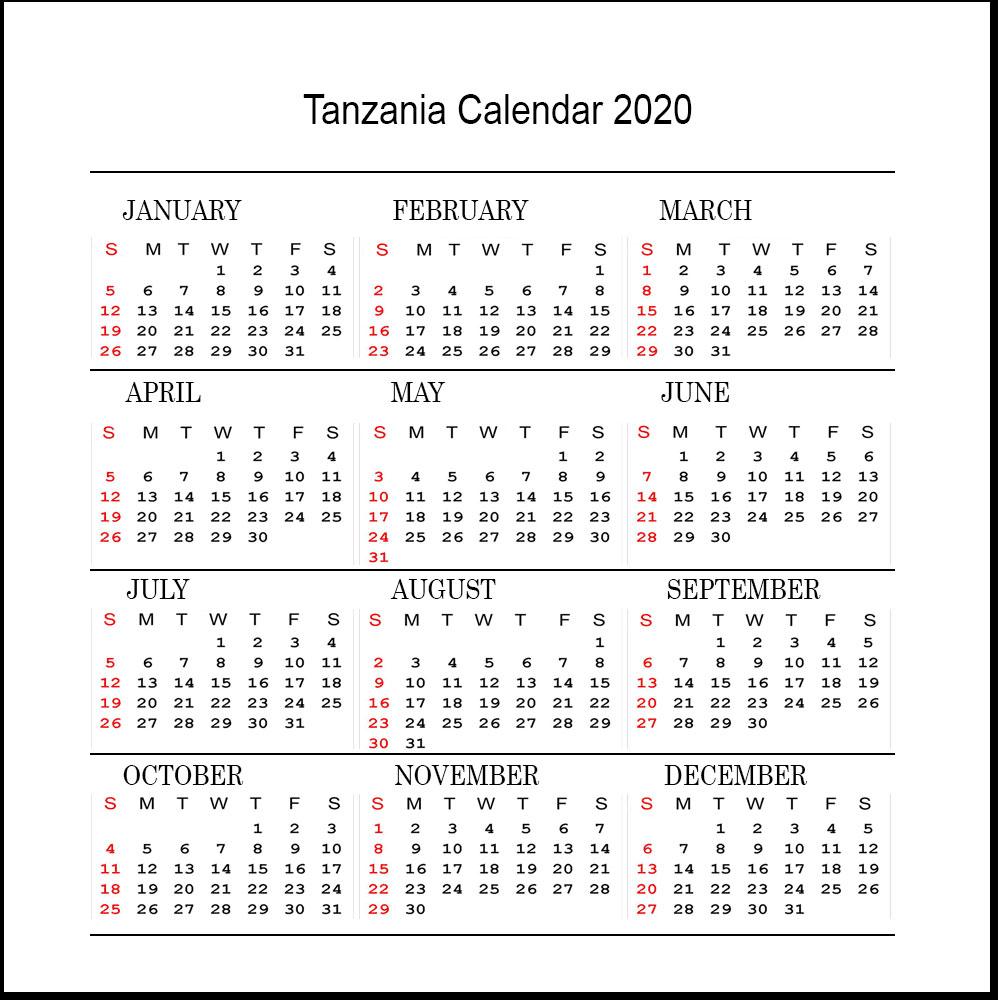 Free 2020 Tanzania Printable Calendar With Public Holidays