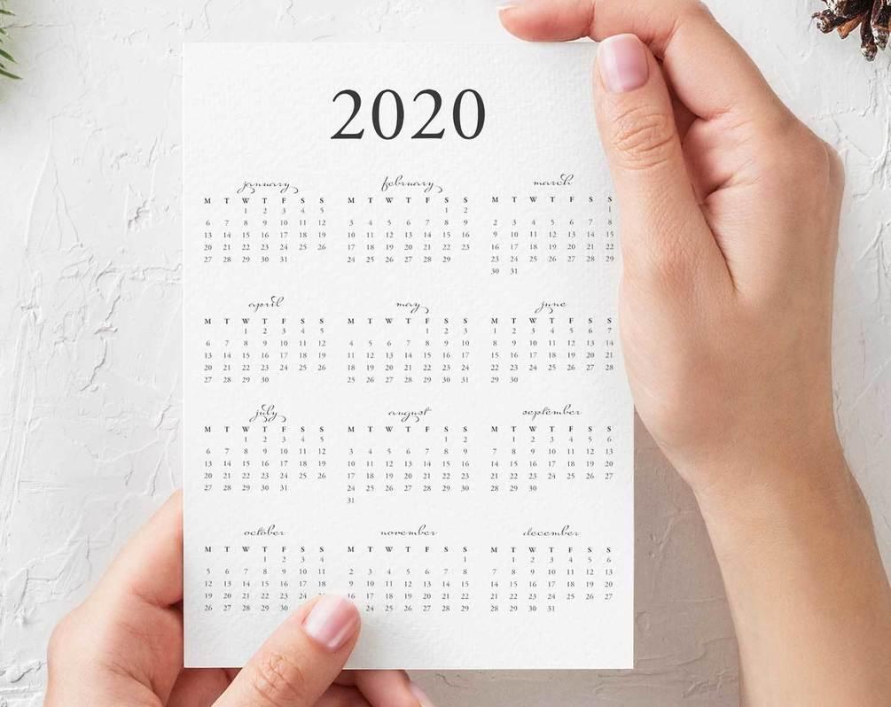 Free 2020 Yearly Calendar Printable Pdf