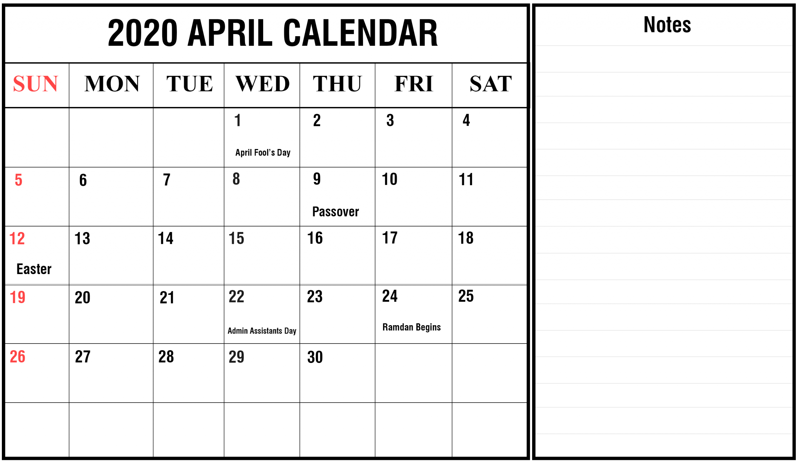 Free April Calendar 2020 Printable Editable Template