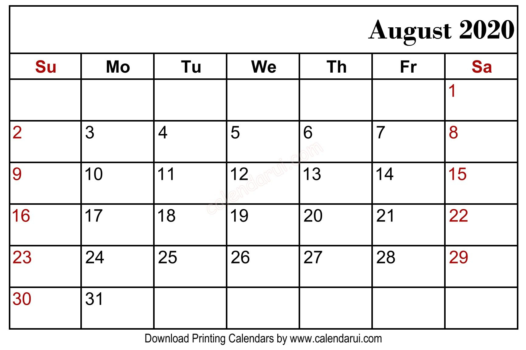 Free August 2019 Blank Calendar Printable Download In 2019