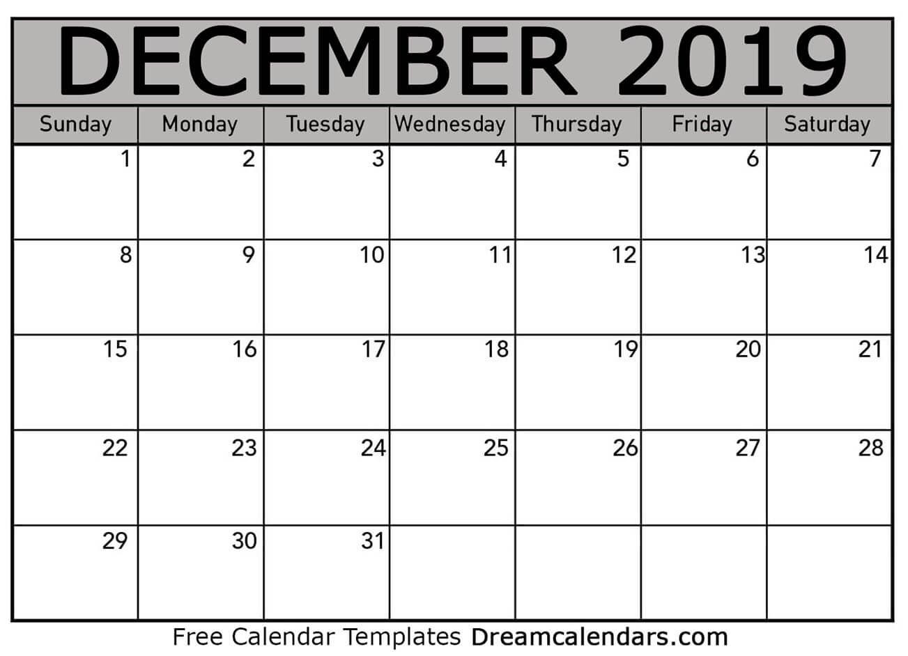 Free Blank December 2019 Printable Calendar