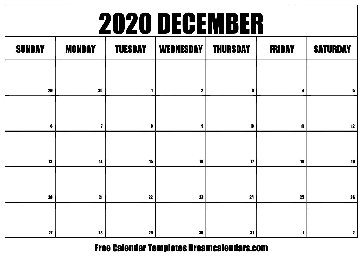 Free Blank December 2020 Printable Calendar