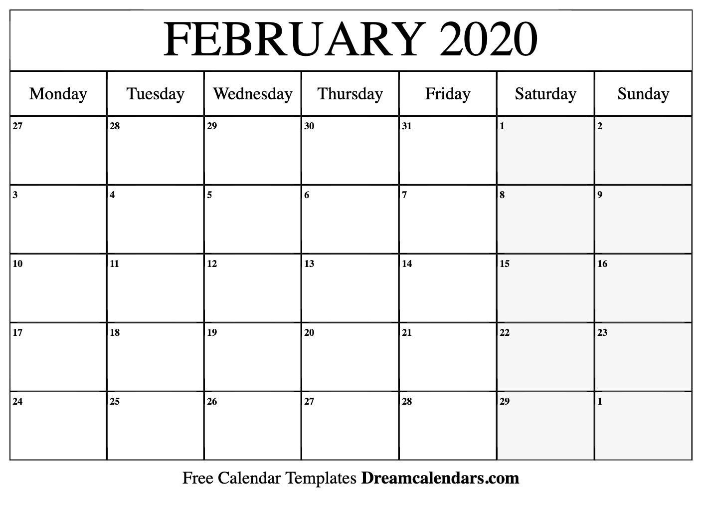 Free Blank February 2020 Printable Calendar