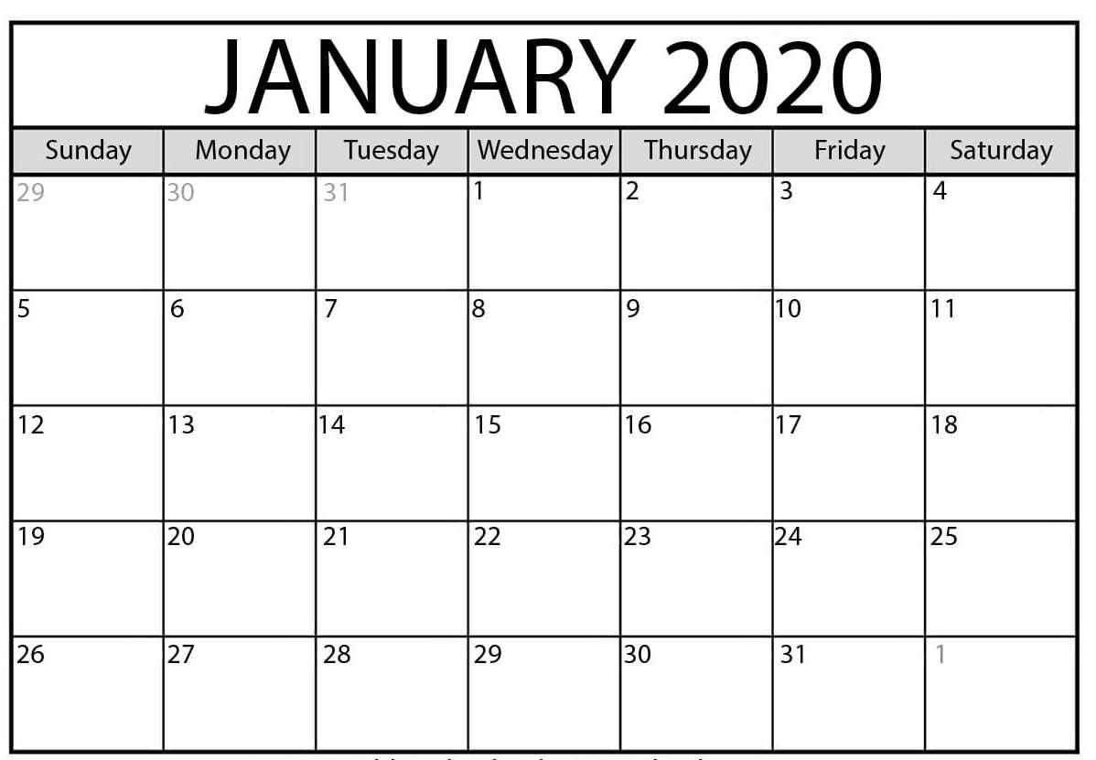 Free Blank January 2020 Calendar Printable Pdf, Word, Excel