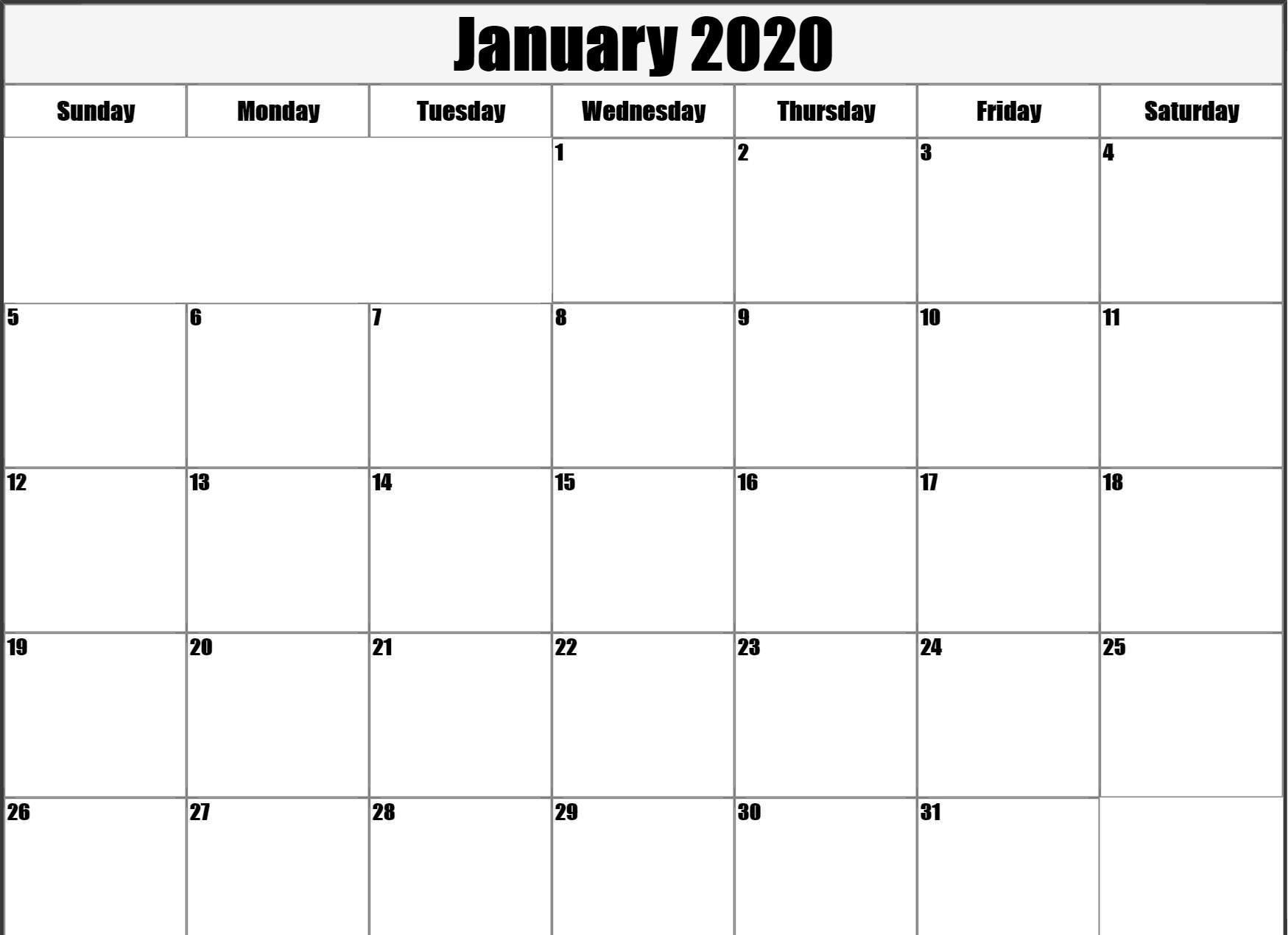 Free Blank January 2020 Calendar Printable Pdf, Word, Excel