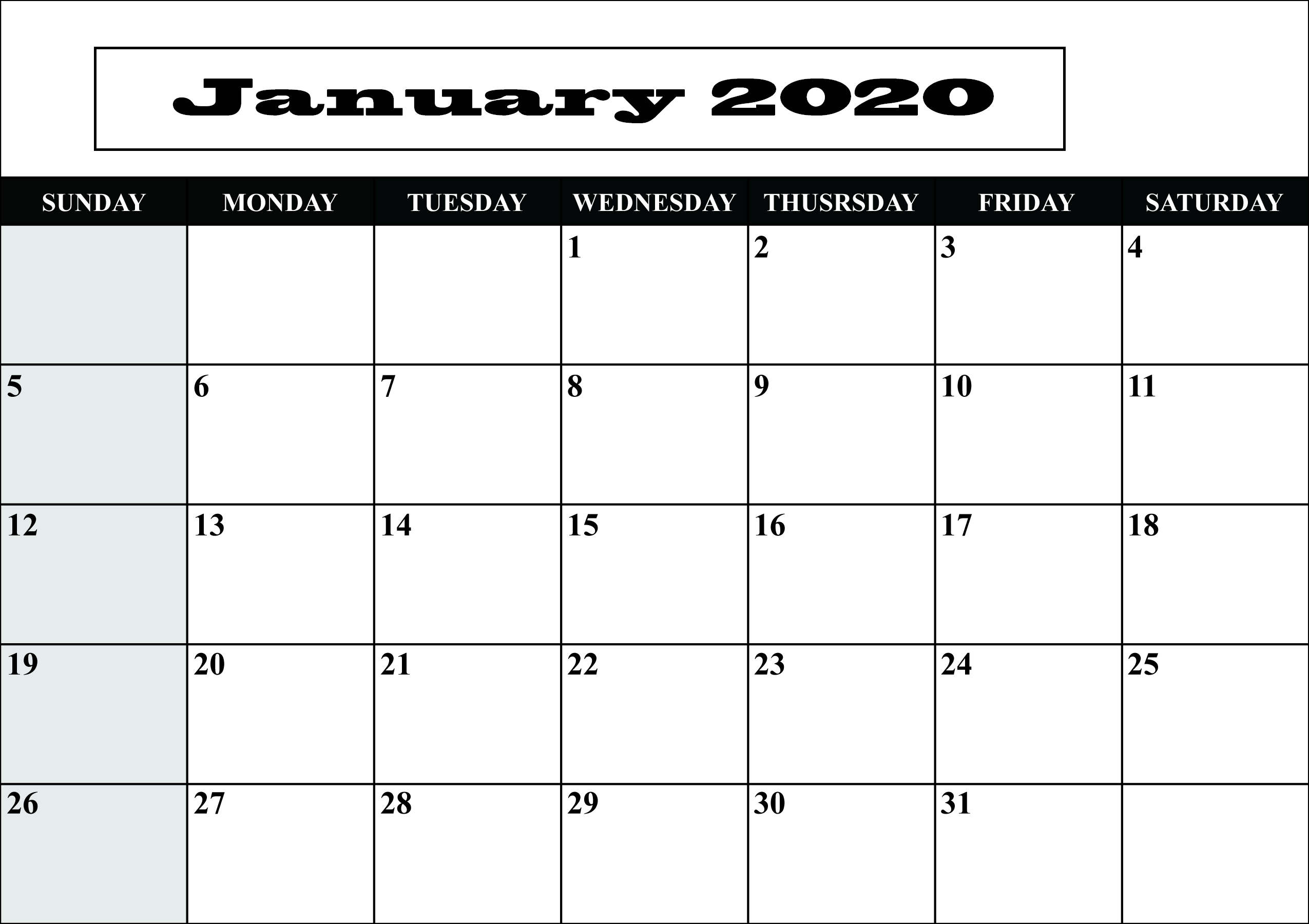 Free Blank January 2020 Calendar Printable Templates