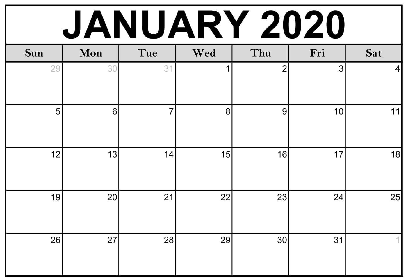 Free Blank January 2020 Calendar Printable Templates
