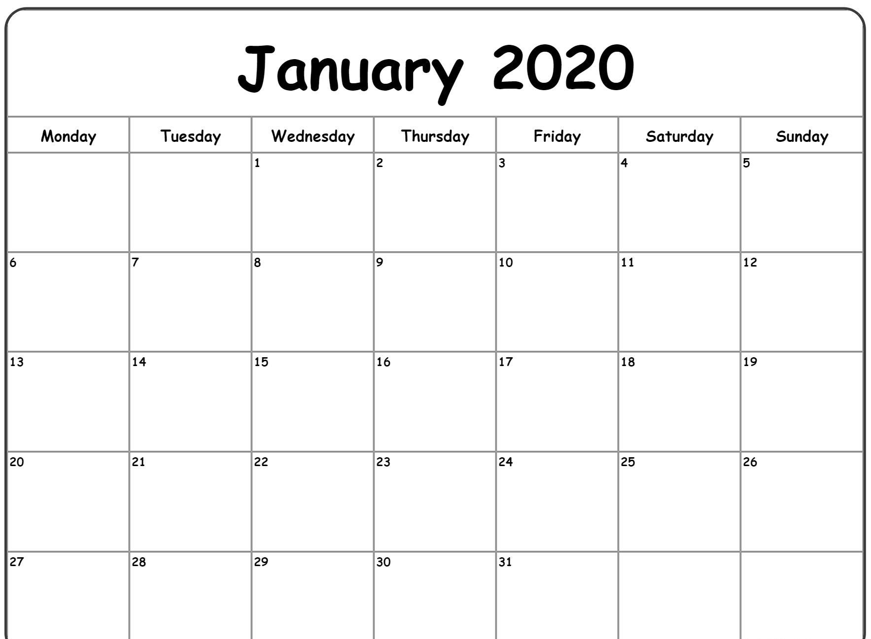 Free Blank January Calendar 2020 Printable Template