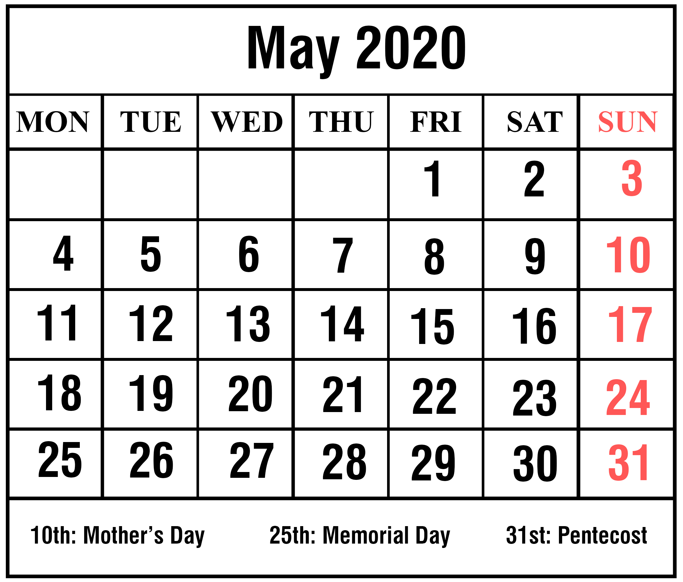 Free Blank May 2020 Calendar Printable [Pdf, Excel & Word