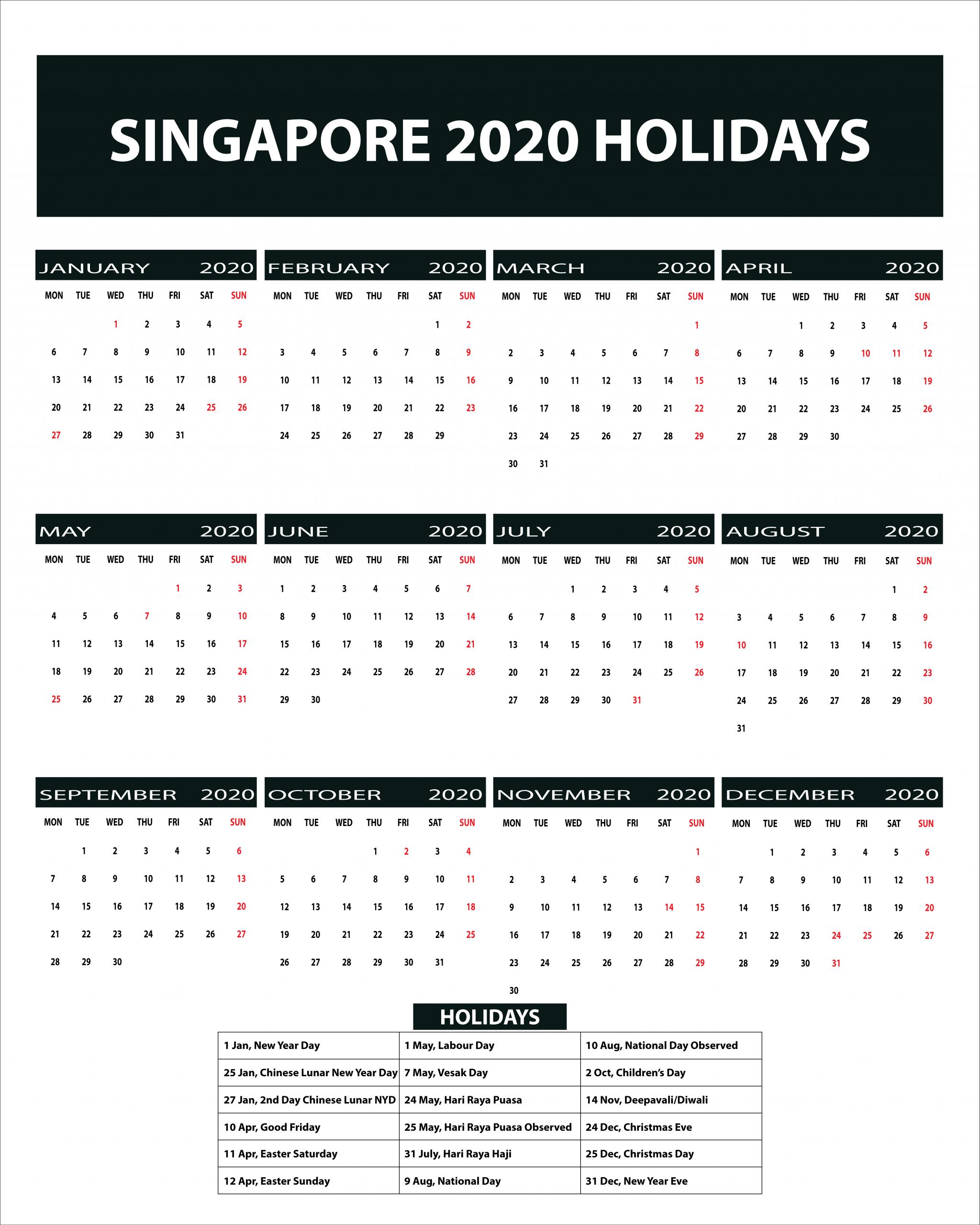 Free Blank Printable Singapore Public Holidays 2020 Calendar