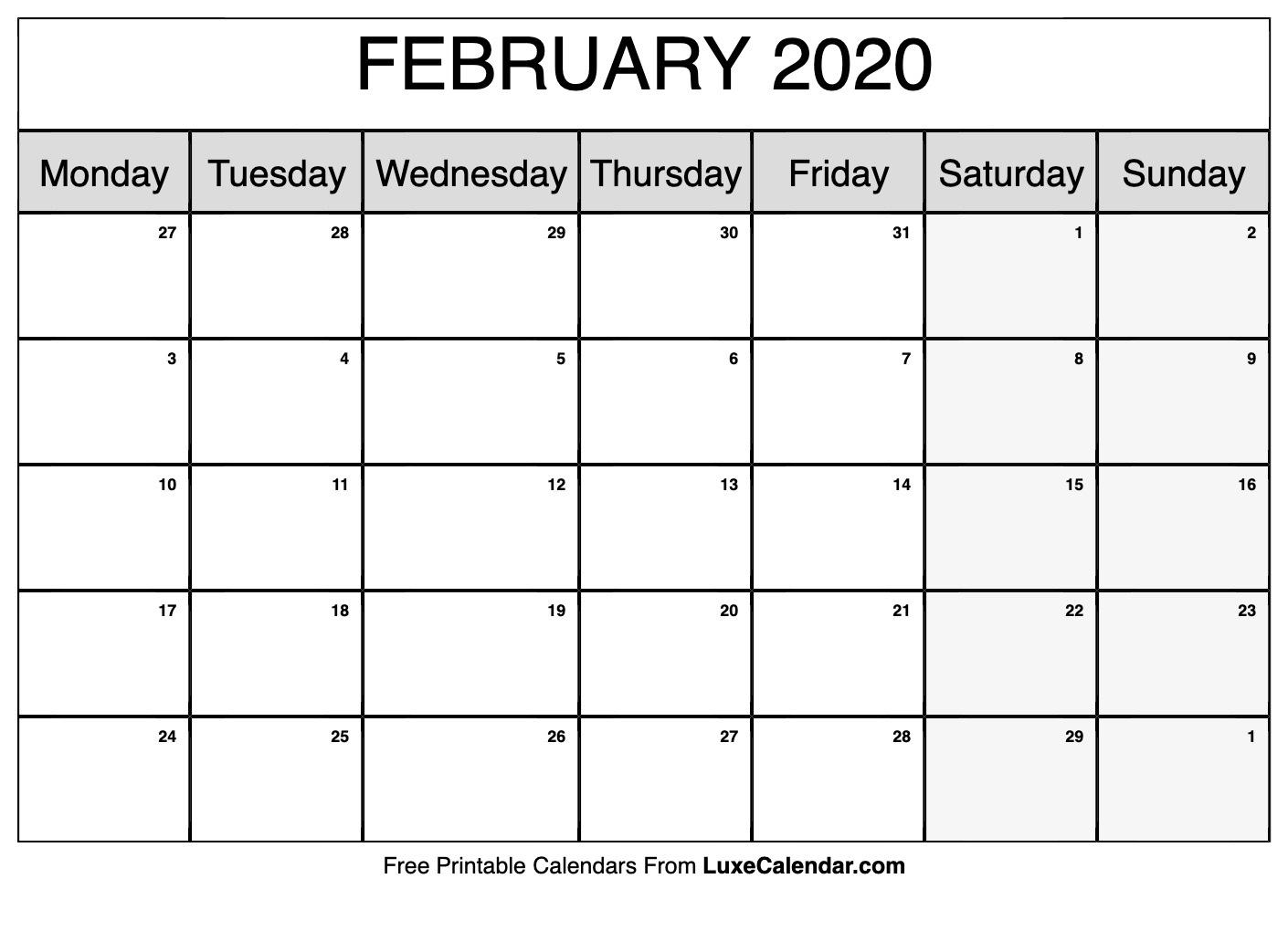 Free Calendar February 2020 | Calendar Template Information