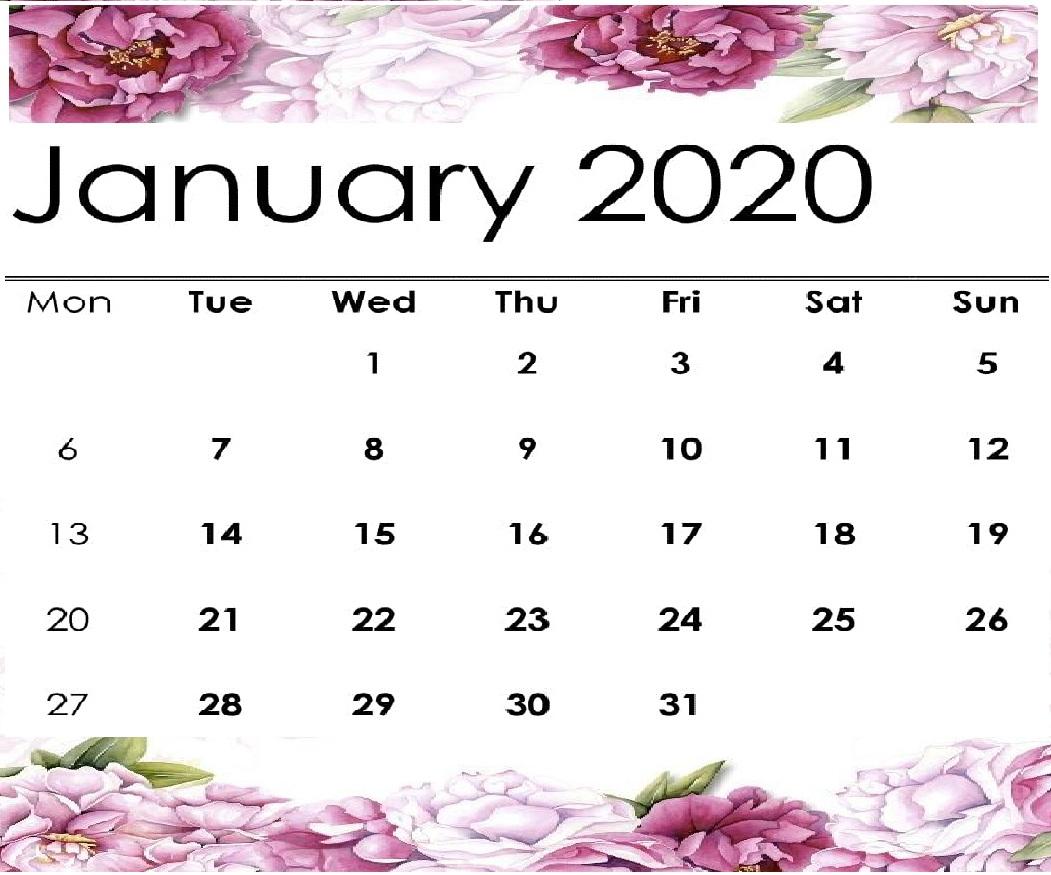 Free Cute January 2020 Calendar Printable   12 Month