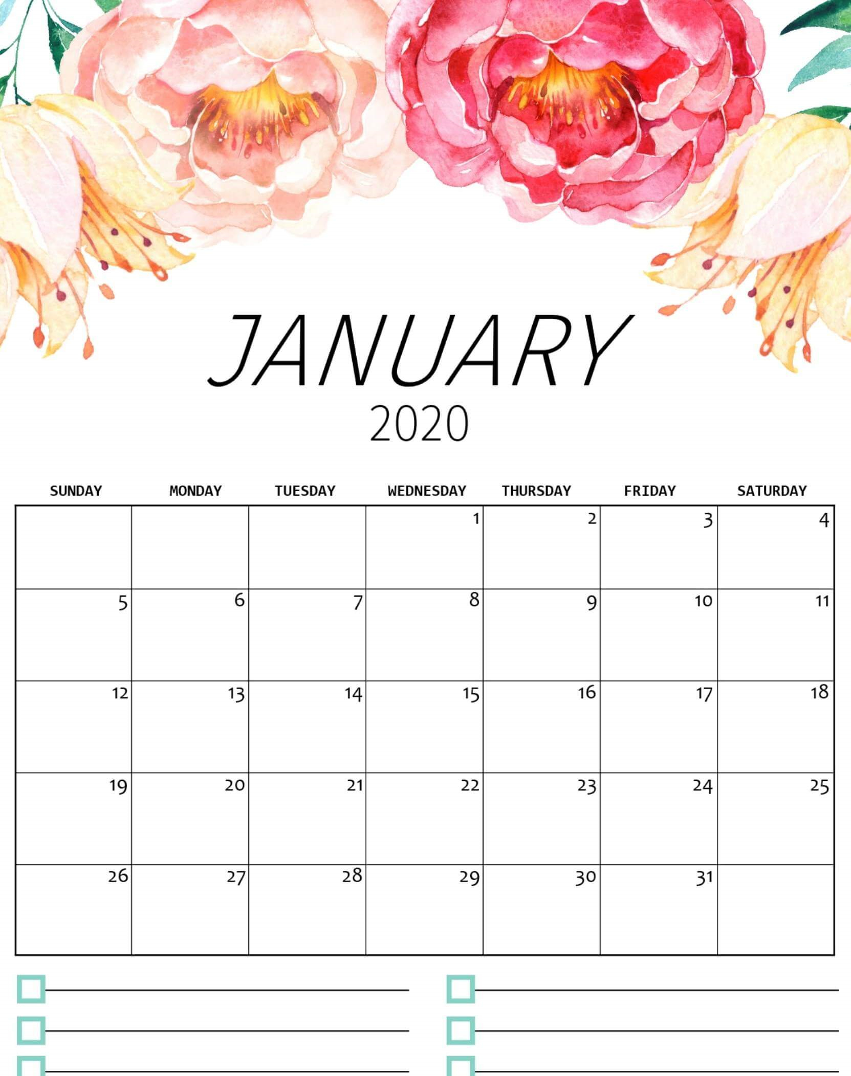 Pick Pretty January 2020 Calendar Printable