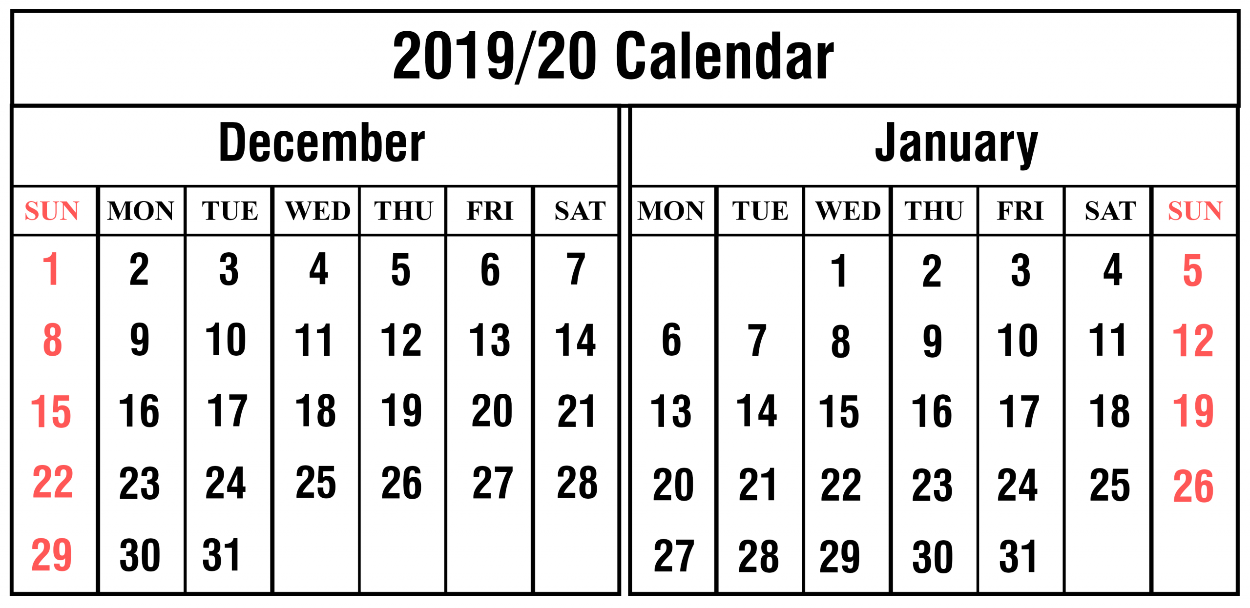 Free December And January 2019-2020 Calendar Templates