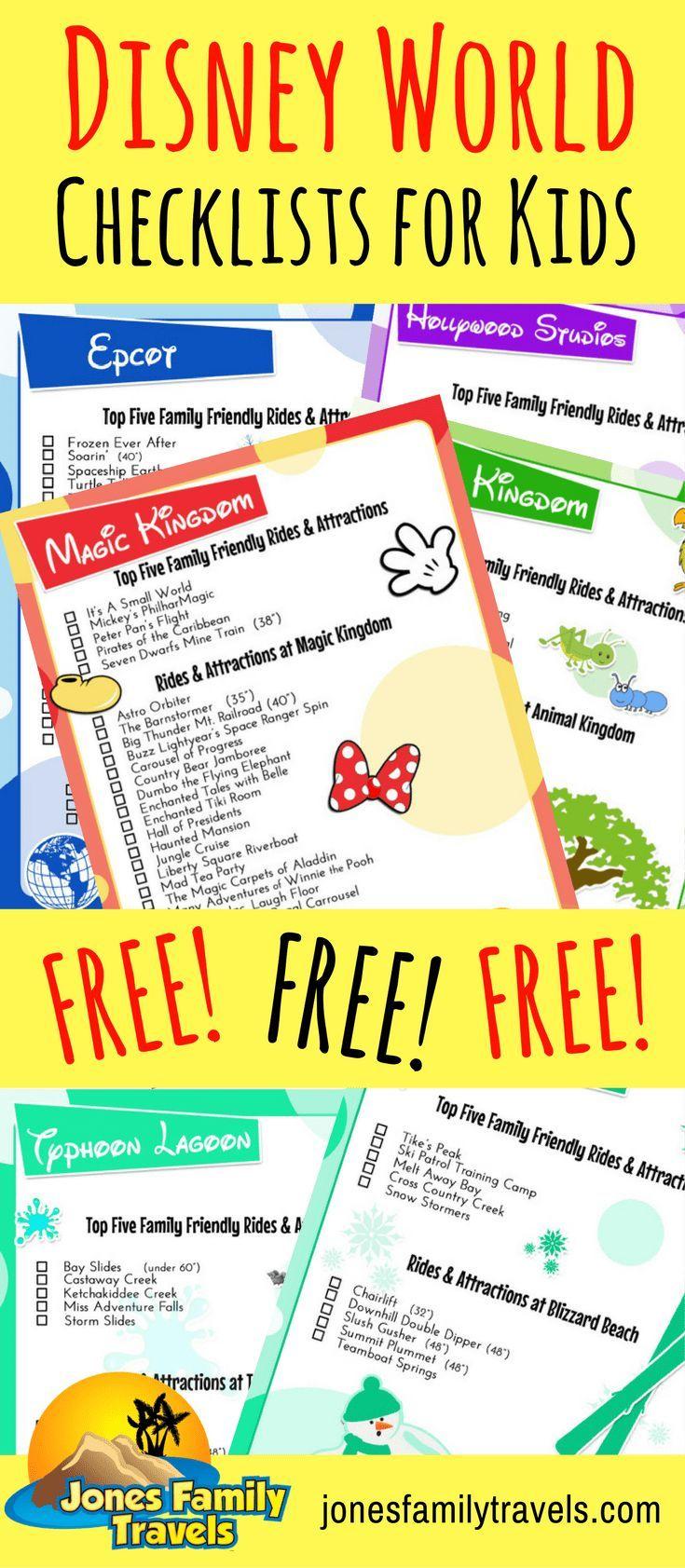 Free Disney Parks Printable Checklists For Kids | Disney