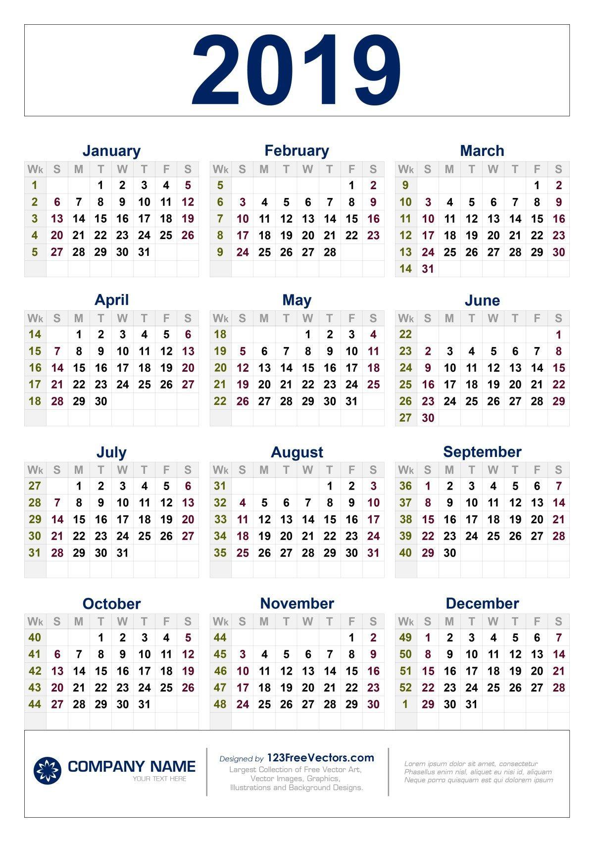 Free Download 2019 Calendar With Week Numbers   Calendar