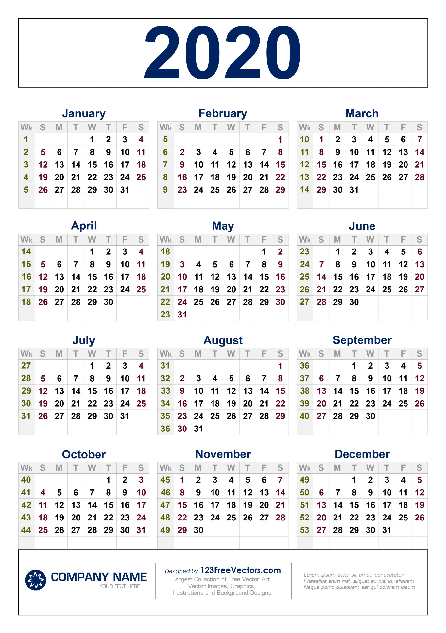 Free Download 2020 Calendar With Week Numbers